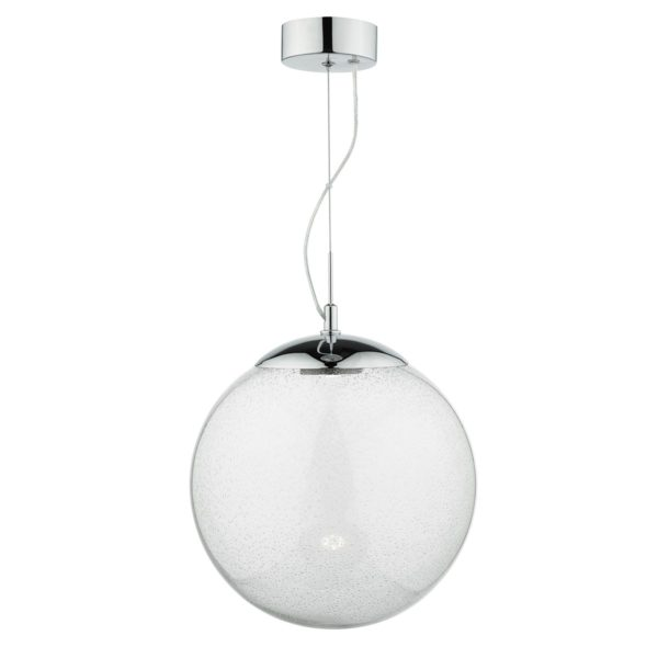 Dar EPO0108 Epoch LED Pendant in Glass & Chrome