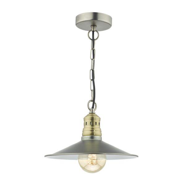Dar ESR0161 Esra 1 Light Pendant in Antique Chrome & Antique Brass