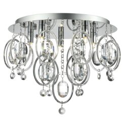 EVA5450 Evangeline 5 Light Flush in Polished Chrome