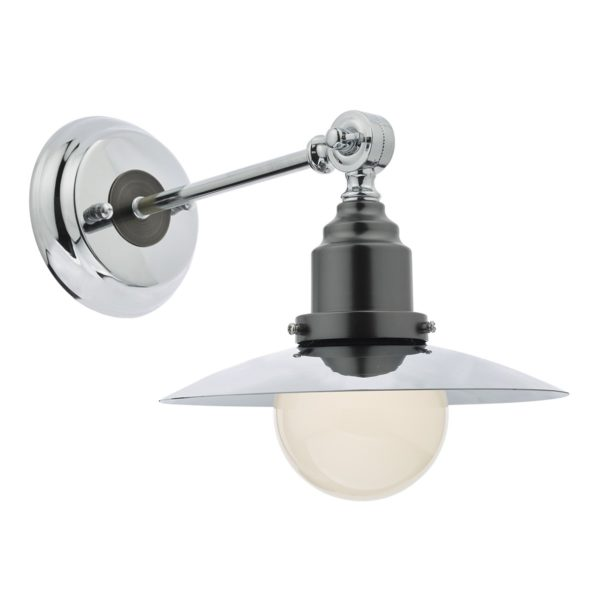 Dar HAN7150 Hannover Small Wall Light in Polished & Antique Chrome