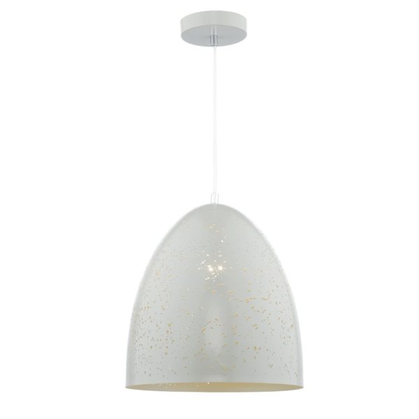 Dar IDR012 Idris 1 Light Pendant in White