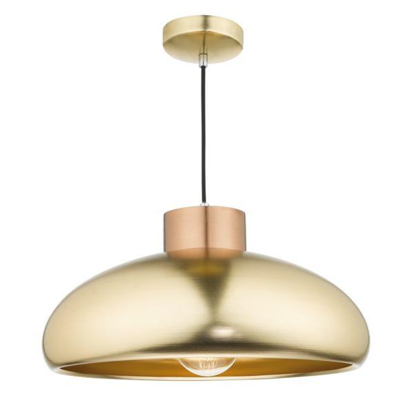 Dar JAY0142 Jayson 1 Light Pendant in Satin Brass & Copper