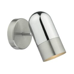 Dar KAZ0746 Kazan 1 Light Spot Wall Light in  Polished & Satin Chrome