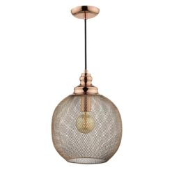 Dar KEA0164 Keaton 1 Light Pendant in Copper