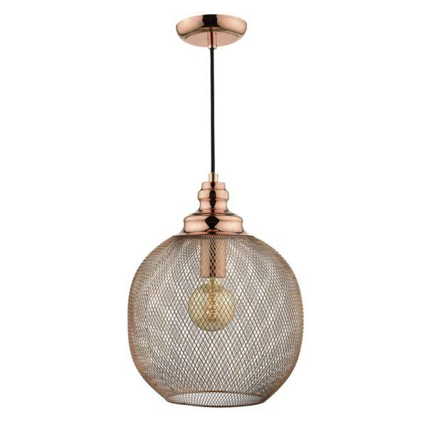 Dar KEA0164 Keaton 1 Light Pendant in Copper
