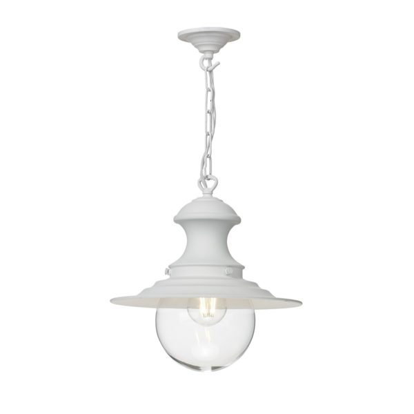 David Hunt Lighting EP0102 Station 1 Light Baby Pendant in White with Clear Glass