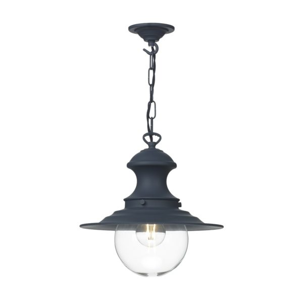 David Hunt Lighting EP0123 Station 1 Light Baby Pendant in Smoke Blue with Clear Glass