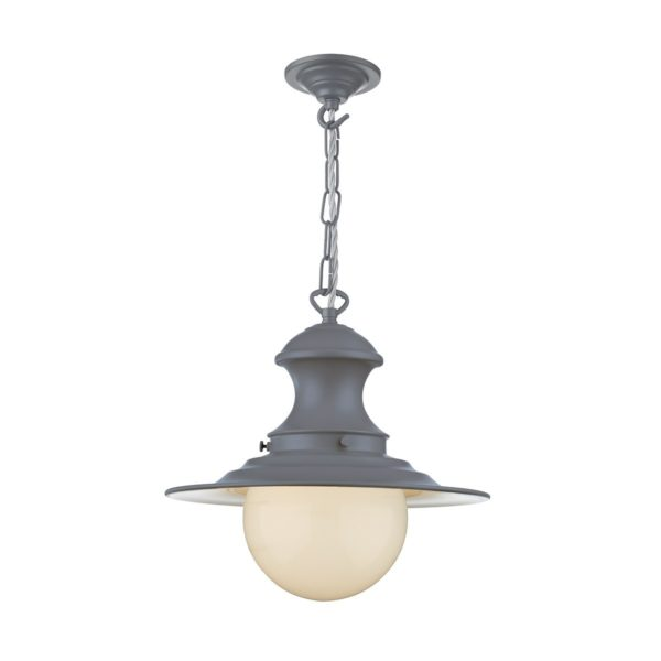 David Hunt Lighting EP0139 Station 1 Light Baby Pendant in Lead Grey with Opal Glass