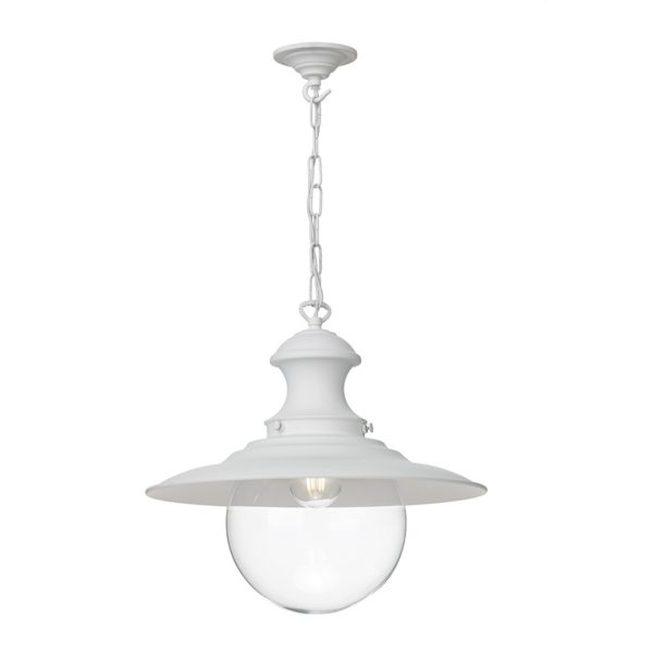 David Hunt Lighting EP02 Station 1 Light Pendant in White with Clear Glass