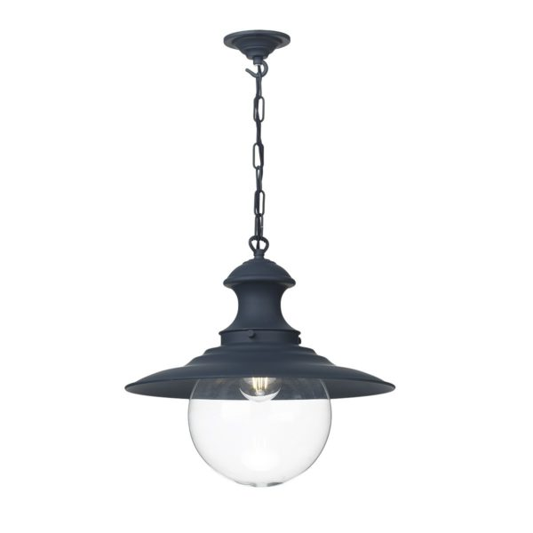 David Hunt Lighting EP23 Station 1 Light Pendant in Smoke Blue with Clear Glass