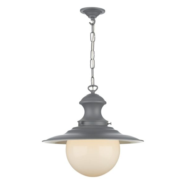 David Hunt Lighting EP39 Station 1 Light Pendant in Lead Grey with Opal Glass