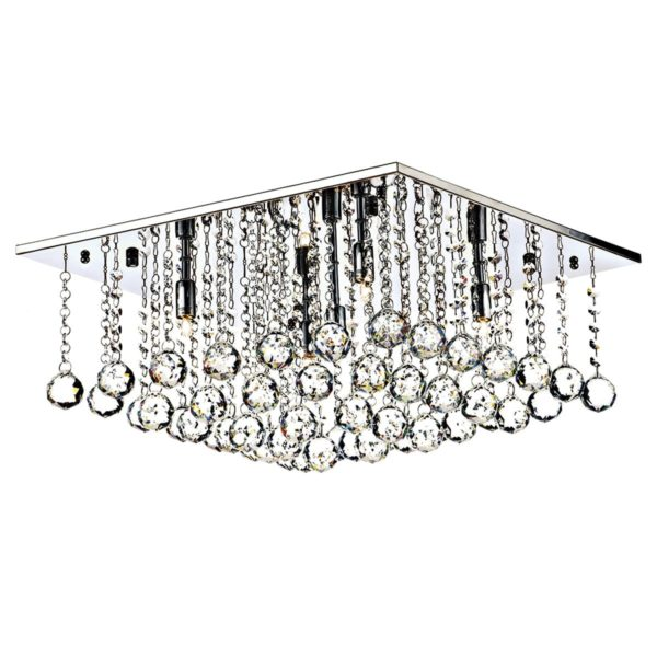 Dar ABA5050- Abacus 5lt Flush, Clear Faceted Crystal, Polished Chrome