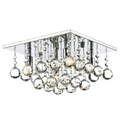 Dar ABA5250- Abacus 4lt Flush, Clear Faceted Crystal, Polished Chrome