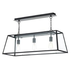 Dar ACA0322- Academy 3lt Multi Arm Pendant, Matt Black, Glass