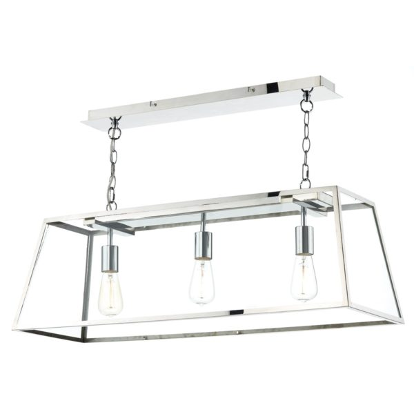 Dar ACA0344- Academy 3lt Multi Arm Pendant, Polished Stainless Steel, Glass