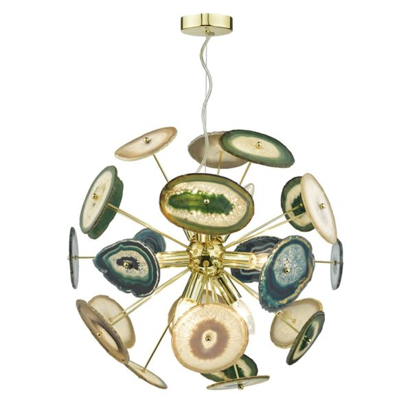 Dar ACH1355- Achates 9lt Multi Arm Pendant, Polished Gold, Agate Polished Stone