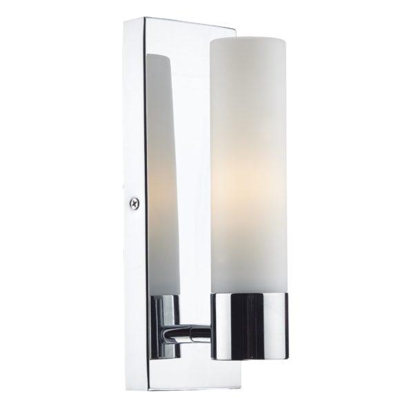 Dar ADA0750- Adagio 1lt Wall Light, Polished Chrome, White Frosted Glass