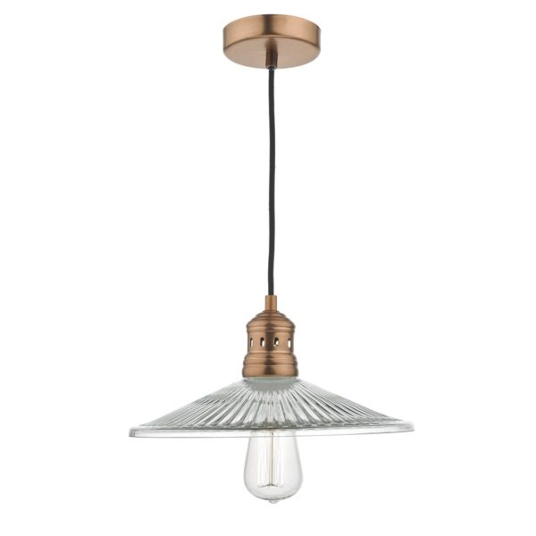 Dar ADE0164- Adeline 1lt Single Pendant, Copper, Glass