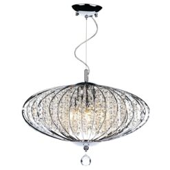 Dar ADR0550- Adriatic 5lt Multi Arm Pendant, Clear Faceted Crystal, Polished Chrome