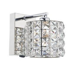 Dar AGN0750- Agneta 1lt Wall Light, Clear Faceted Crystal, Polished Chrome