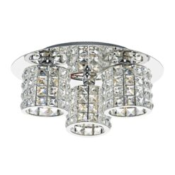 Dar AGN5350- Agneta 3lt Flush, Clear Faceted Crystal, Polished Chrome
