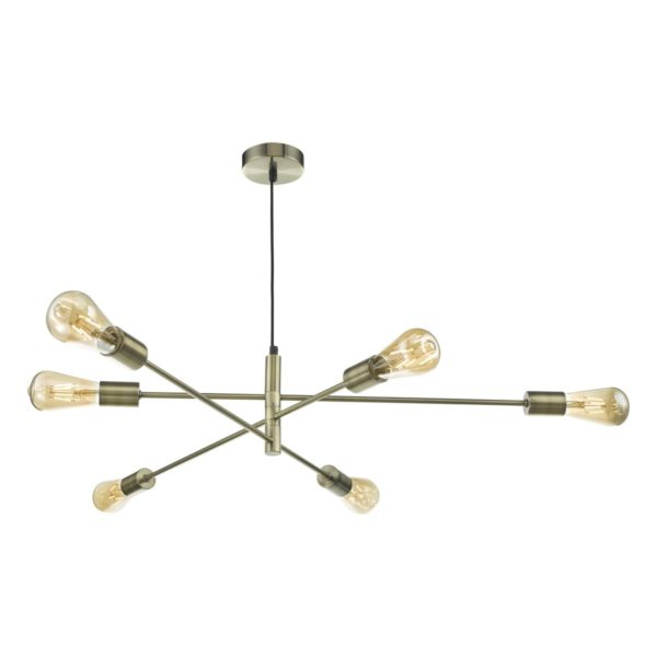 Dar ALA0675- Alana 6lt Multi Arm Pendant, Antique Brass