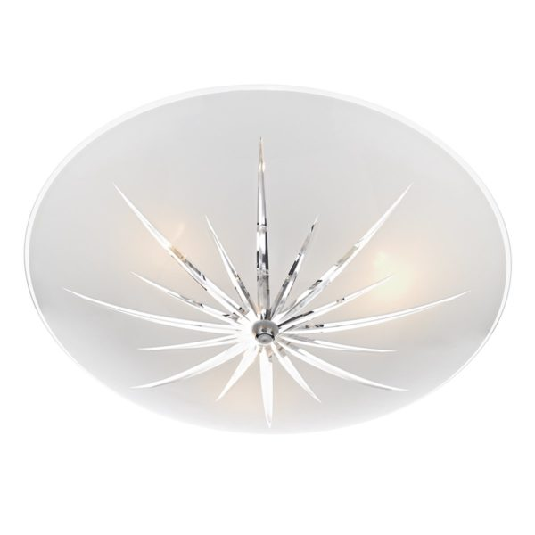 Dar ALB532- Albany 3lt Semi Flush, White Frosted Glass, Polished Chrome