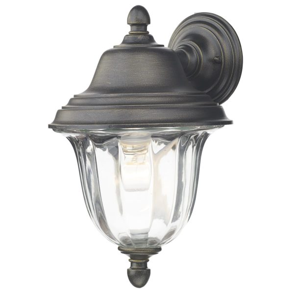 Dar ALD1635- Aldgate 1lt Wall Light, Black Gold, Glass