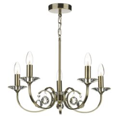 Dar ALL0575- Allegra 5lt Multi Arm Pendant, Antique Brass, Clear Smooth Crystal