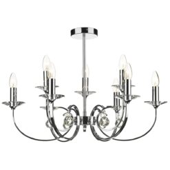 Dar ALL1350- Allegra 9lt Multi Arm Pendant, Polished Chrome, Clear Smooth Crystal