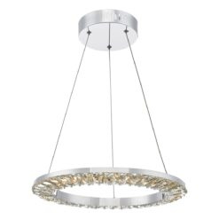 Dar ALT0150- Altamura 1lt Single Pendant, Stainless Steel, Crystal