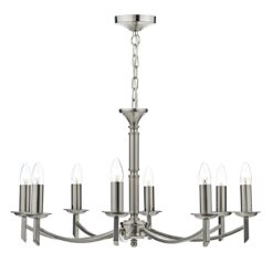 Dar AMB0846- Ambassador 8lt Multi Arm Pendant, Satin Chrome