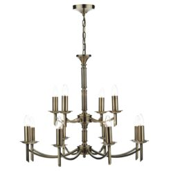 Dar AMB1275- Ambassador 12lt Multi Arm Pendant, Antique Brass