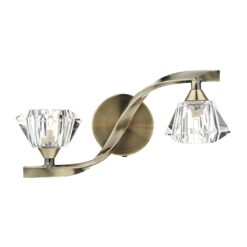 Dar ANC0975- Ancona 2lt Wall Light, Antique Brass, Clear Faceted Crystal