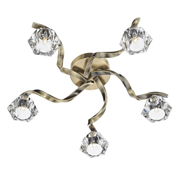 Dar ANC5475- Ancona 5lt Flush, Antique Brass, Crystal