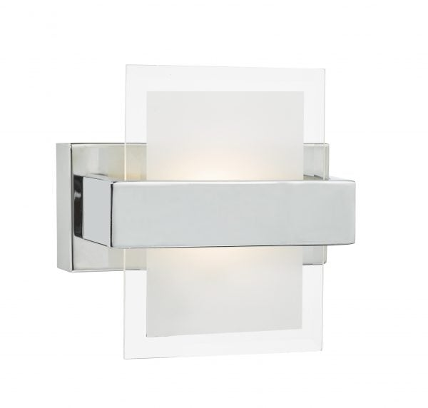 Dar APT0750- Apt 1lt Wall Light, Polished Chrome, White Faceted Glass