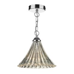 Dar ARD0150- Ardeche 1lt Single Pendant, Polished Chrome, Moulded Glass