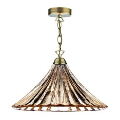 Dar ARD866- Ardeche 1lt Single Pendant, Antique Brass, Amber Glass