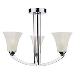 Dar ARL0350- Arlington 3lt Semi Flush, Polished Chrome, Scavo Glass