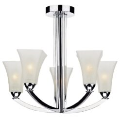 Dar ARL0550- Arlington 5lt Semi Flush, Polished Chrome, Scavo Glass