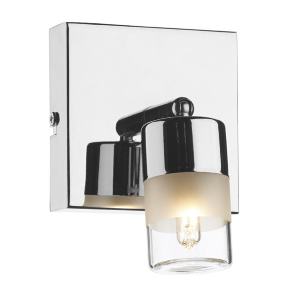 Dar ART7150- Artemis 1lt Wall Light, Polished Chrome, White Frosted Glass