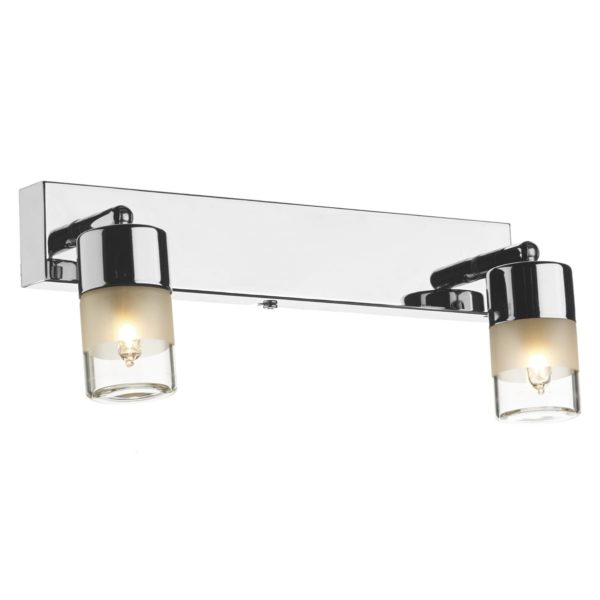 Dar ART7750- Artemis 2lt Wall Light, Polished Chrome, White Frosted Glass