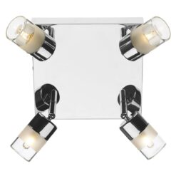 Dar ART8550- Artemis 4lt Flush, Polished Chrome, White Frosted Glass