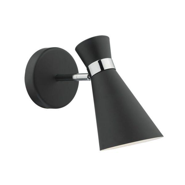 Dar ASH0722- Ashworth 1lt Spotlight, Black, Polished Chrome