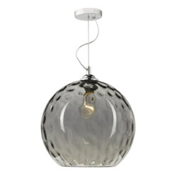 Dar AUL0110- Aulax 1lt Single Pendant, Smoked Moulded Glass, Polished Chrome