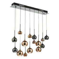 Dar AUR6264- Aurelia 15lt Bar Pendant, Polished Black Chrome, Multi Colour