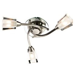 Dar AUS0346- Austin 3lt Semi Flush, Satin Chrome, Glass
