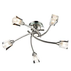 Dar AUS0546- Austin 5lt Semi Flush, Satin Chrome, Glass