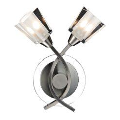 Dar AUS0946- Austin 2lt Wall Light, Satin Chrome, Glass