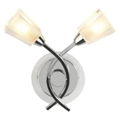 Dar AUS0950- Austin 2lt Wall Light, Polished Chrome, Glass